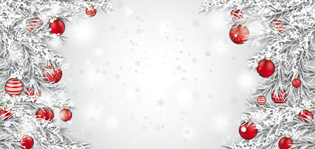 Frozen twigs with red Christmas baubles on the white background with snow vector file.