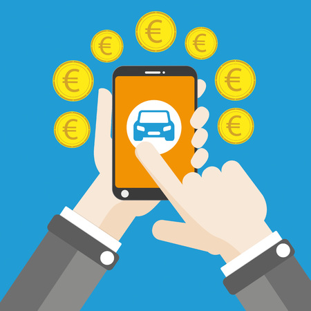 Flat design with human hand, smartphone, car and euro money.