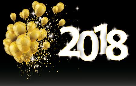 金色の風船と 2018 の数字と黒の背景に金色の粒子  イラスト・ベクター素材