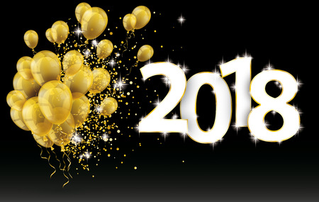 Golden balloons and golden particles on the black background with the numbers 2018 Çizim