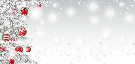 Frozen twigs with red christmas baubles on the white background with snow.