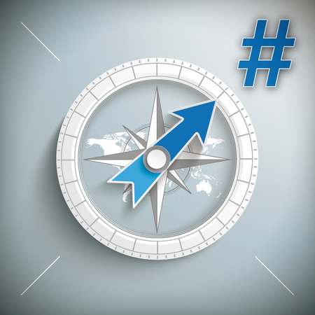 Boussole avec un hashtag bleu. Banque d'images - 90427993