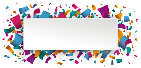 White paper banner with colored confetti. Confetti on the white background. Eps 10 vector file.