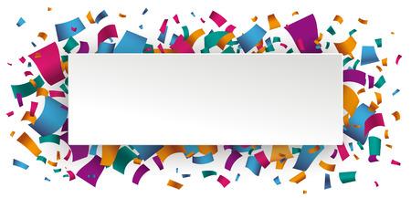 Witboekbanner met gekleurde confettien. Confetti op de witte achtergrond. EPS-10 vector-bestand. Stock Illustratie