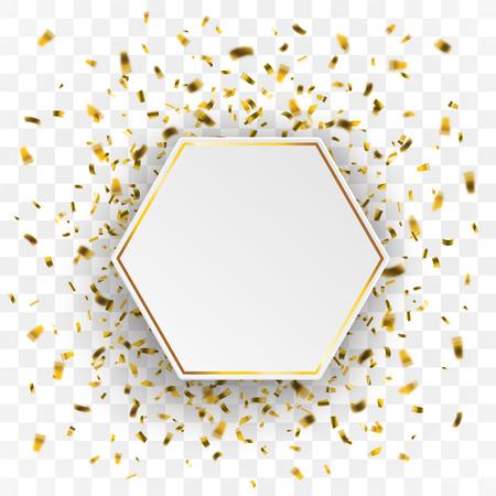 Gouden confetti met papier zeshoek op de geselecteerde achtergrond. EPS-10 vector-bestand.