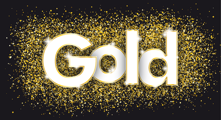 Text Gold with the golden particles on the black background. Eps 10 vector file. Ilustrace