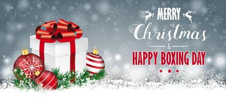 雪、ボーブル、ギフトカートン付きグレーのクリスマスカード。Eps 10 ベクトルファイル。