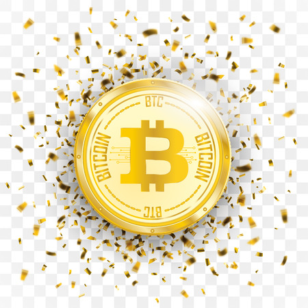 Golden confetti with bitcoin on the checked background. Eps 10 vector file. Illustration