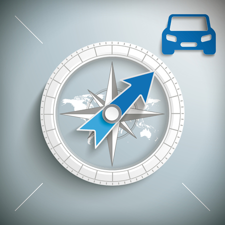 Compass with a blue car. Eps 10 vector file.