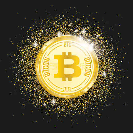 Golden bitcoin coin with golden particles confetti on the black background. Eps 10 vector file. Illustration