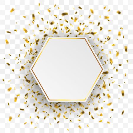 Golden confetti with paper hexagon on the checked background. Eps 10 vector file.
