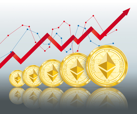 Golden ethereum coins growth with shadows on the white background. Eps 10 vector file. Illustration