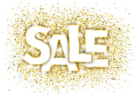 Golden confetti with text Sale on the white background. Eps 10 vector file.