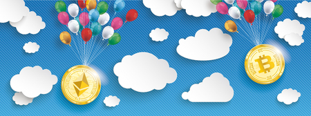 Paper clouds with hanging ethereum and bitcoin with colored balloons on the blue background. Eps 10 vector file. Illustration