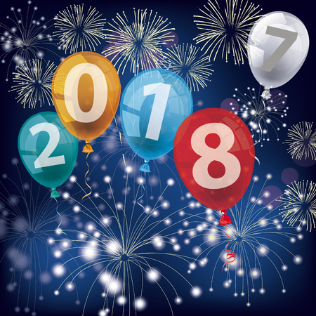 Text 2018 with colored balloons and fireworks on the blue background. Eps 10 vector file.