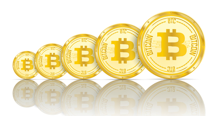 Golden bitcoin coins growth with shadows on the white background. Eps 10 vector file.