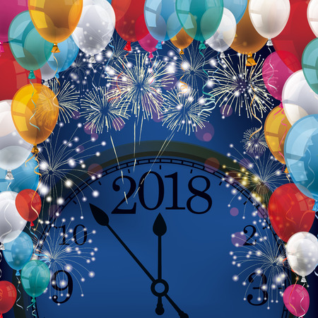 Silvester with clock 2018, colored balloons and fireworks on the blue background. Eps 10 vector file.