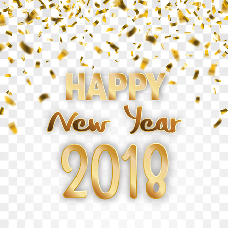 Golden confetti with text Happy New Year 2018 on the checked background. Eps 10 vector file.