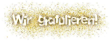 """German text """"Wir gratulieren"""", translate """"we congrats"""""""