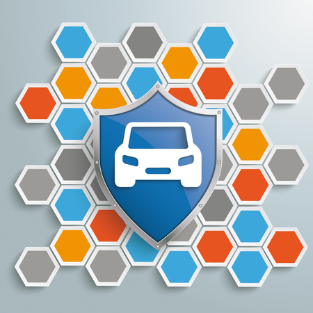 Info graphic with honeycomb structure and blue protection shield with car Illustration