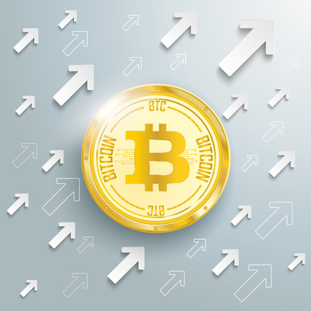 Golden bitcoin coin with arrows on the gray background vector file.