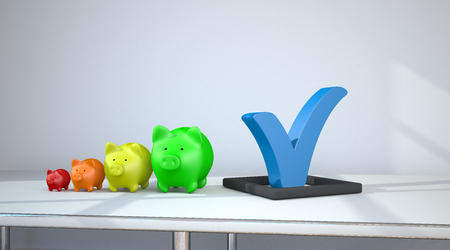 Blue tick with colored piggy banks chart on the table in room. 3d illustration.
