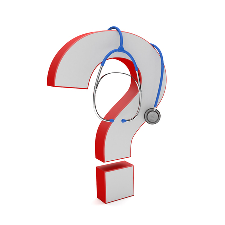 Red question mark with blue stethoscope on the white. 3d illustration.  Stock Photo