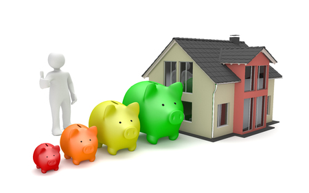 White cartoon character with piggy banks and house building on the white. 3d illustration.
