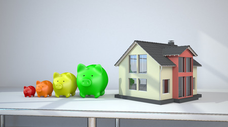 House building with piggy banks on the table in a room. 3d illustration.