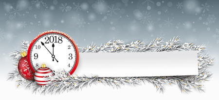Frozen twigs, red bauble and paper sticker with the red clock and date vector file.