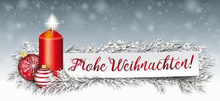 German Text Frohe Weihnachten, translate Merry Christmas vector file. Çizim