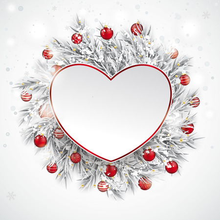 The paper heart with frozen twigs and red baubles vector file. Ilustração