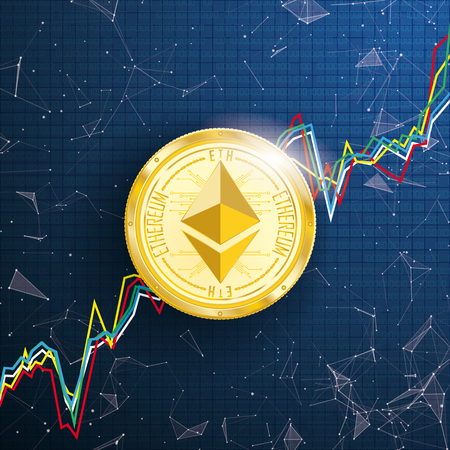 Abstract background with golden Ethereum coin, chart, connected dots and data vector file.