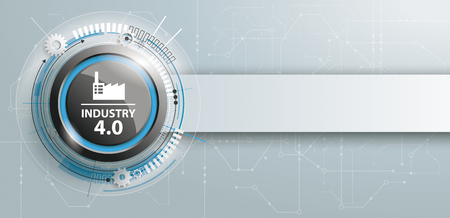 Header with black button and text Industry 4.0.