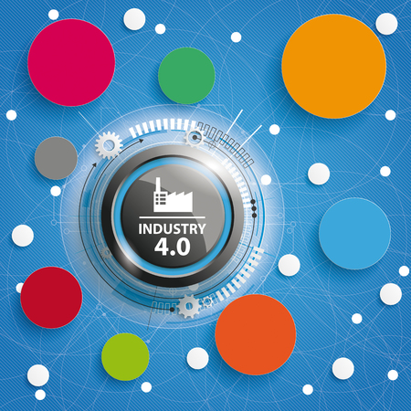 Infographic with black button, circles and text Industry 4.0. Çizim