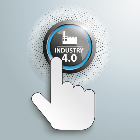 Button with click cursor and text Industry 4.0