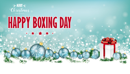 Cyan christmas header with snow, cyan baubles and gift on the bokeh background. Eps 10 vector file.