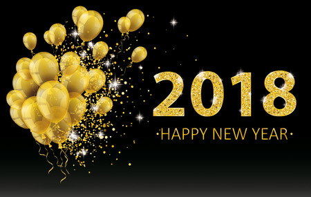 Golden balloons and golden particles on the black background with the numbers 2018. Eps 10 vector file.