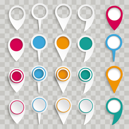 White location markers set vector illustration