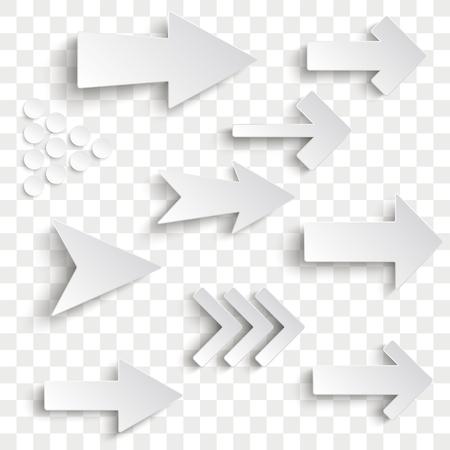 White arrows set vector illustration