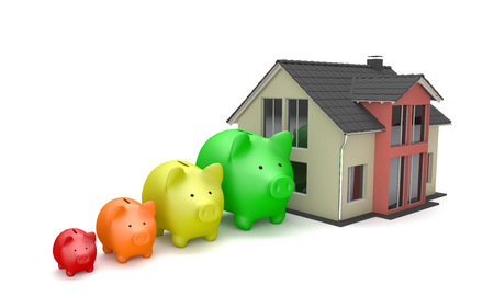 House building with piggy banks on the white background. 3d illustration.