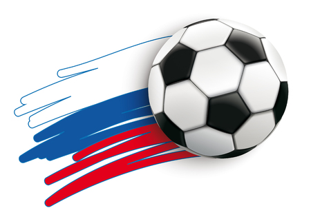 Russian flag with football on the white background.