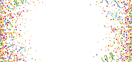 Colored confetti and paper streamer on the white background. Eps 10 vector file.