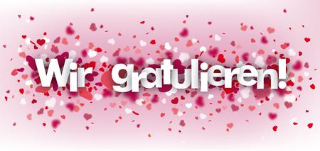 "German text ""Wir gratulieren"", translate ""we congrats"". Eps 10 vector file. Ilustracje wektorowe"