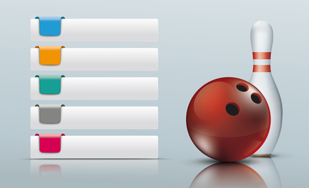 5 Tabs with colored markers, bowling pin and red bowling ball. Eps 10 vector file. Vectores