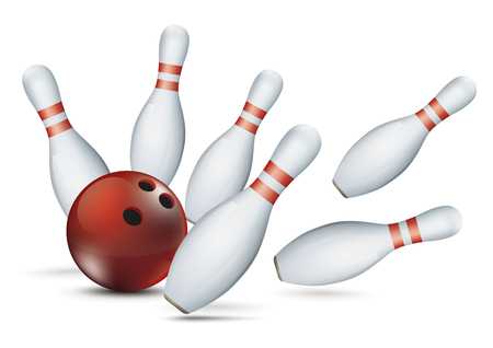 Bowling pins and red ball on the white background. Eps 10 vector file.