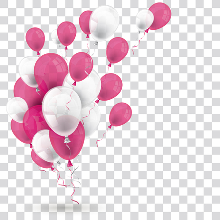 Pink and white balloons on the checked background. Eps 10 vector file. Illustration