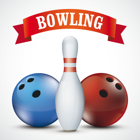 Bowling pin with 2 balls and red ribbon on the white background.