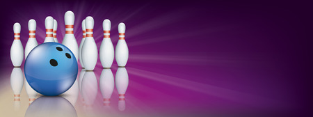 Purple bowling banner with pins and blue ball. Stock Illustratie