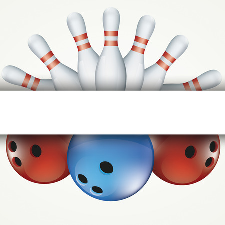 White bowling pins and colored balls on white background. Eps 10 vector file.